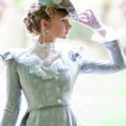 Victorian Woman In The Garden Art Print