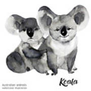 Australian Animals Watercolor Art Print
