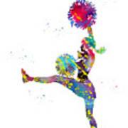 Cheerleader With Pompoms Art Print