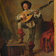 Soldier Playing The Theorbo  Art Print