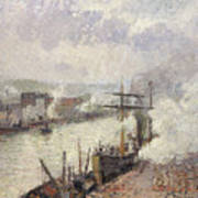Steamboats In The Port Of Rouen  Art Print