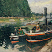 Barges At Pontoise  Art Print