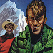 Hillary And Tensing In Front Of Mount Everest Art Print