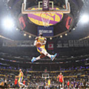 Lebron James Double-Clutch Reverse Dunk Tribute to Kobe Bryant Art Print