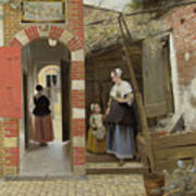 The Courtyard Of A House In Delft  Art Print