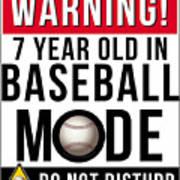 7 Year Old In Baseball Mode Art Print