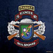 75th Ranger Regiment - Army Rangers Special Edition Over Blue Velvet Art Print