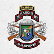 75th Ranger Regiment - Army Rangers Special Edition Over White Leather Art Print