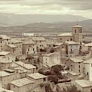 Beautiful Medieval Spanish Village In Sepia Tone Art Print