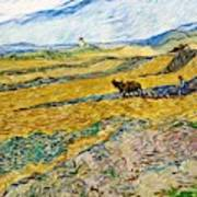 Enclosed Field With Ploughman -  Art Print