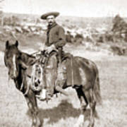 A Cowboy On Horseback, Photo, 19th Century Art Print