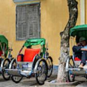 A Cyclo Driver Takes A Nap, In Hoi An, Vietnam. Art Print