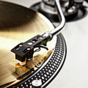 A Gold Record On A Turntable Art Print