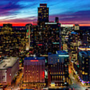 A Gorgeous Fiery Sunset Engulfs The Sky Over The Downtown Austin Art Print