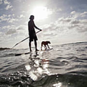 A Man And His Dog On A Stand Up Paddle Art Print