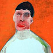 A Man With An Orange Background Art Print