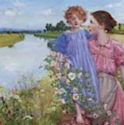 A Mother And Child By A River With Wild Roses 1919 Art Print