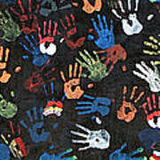 A Painting Of Colorful Handprints Art Print