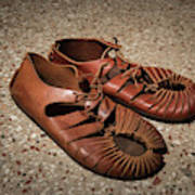 A Pair Of Roman Sandals Made Of Leather Art Print