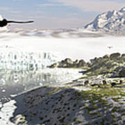 A Receding Glacial Scene Circa 18,000 Art Print
