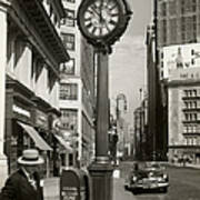 A Street Clock On Fifth Ave., Nyc Art Print