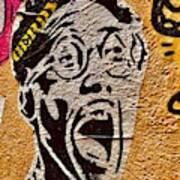 A Terrified Face On A Barcelona Wall  Art Print