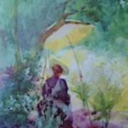 A Woman Sketching In A Glade Art Print