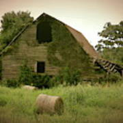 Abandoned Barn And Hay Roll 2018d Art Print