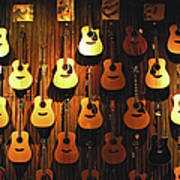 Acoustic Guitars On A Wall Art Print
