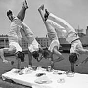 Acrobats Eat While Doing Handstands Art Print