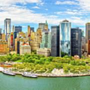 Aerial Panorama Of Downtown New York Skyline Art Print
