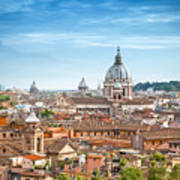 Aerial Panoramic Cityscape Of Rome Art Print
