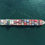 Aerial Top View Container Ship Full Art Print