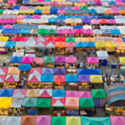 Aerial View Of Multiple Color Roof To Art Print