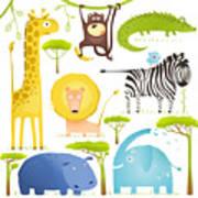 African Animals Fun Cartoon Clip Art Art Print