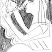 After Mikhail Larionov Pencil Drawing 1 Art Print