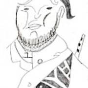 After Mikhail Larionov Pencil Drawing 2 Art Print