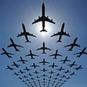 Airplane Silhouettes Fly In V Formation Art Print
