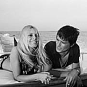 Alain Delon And Brigitte Bardot In Art Print