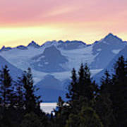 Alaska's Kenai Mountains At Dawn Art Print