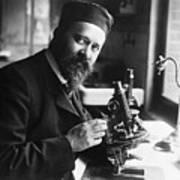 Albert Calmette Working With Microscope Art Print