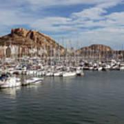 Alicante Marina And The Santa Barbara Castle Art Print