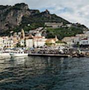 Amalfi Town Seen From Ferry Approaching Art Print