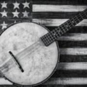 American Banjo Black And White Art Print