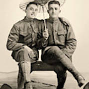 American Soldiers With A Parasol Circa 1915 Art Print