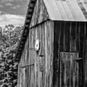 An American Barn Bw Art Print