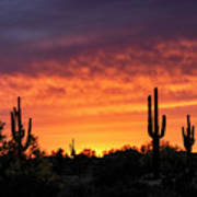 An Orange Glow Fills The Desert  Art Print