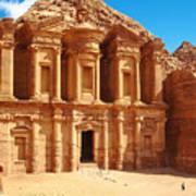 Ancient Temple In Petra, Jordan Art Print