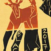 Antelope Black Ivory Woodcut9 Art Print