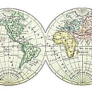 Antique Earth Map Art Print